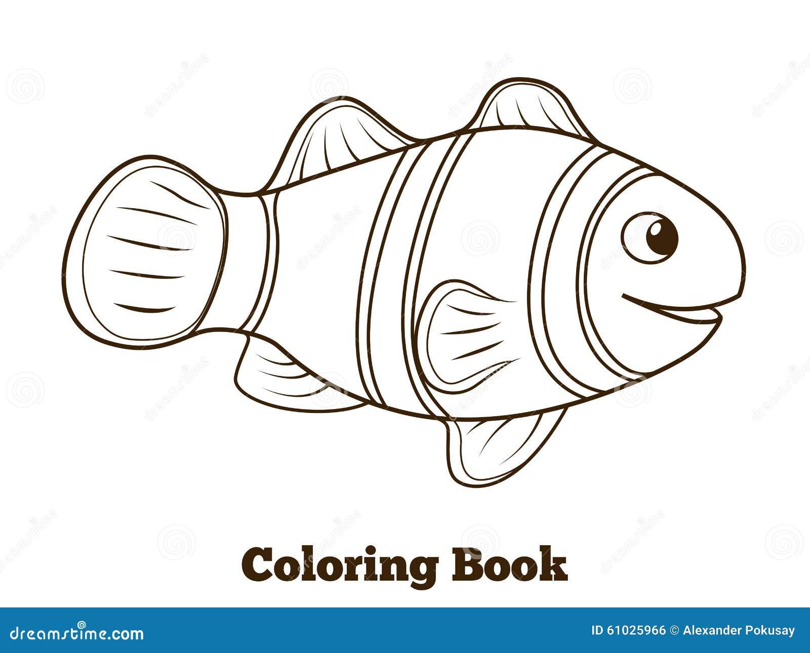 Coloring book clownfish fish cartoon vector stock vector for Colorful fish book