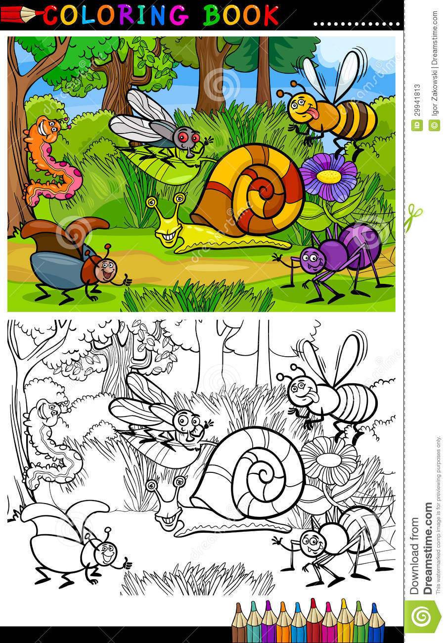 Cartoon Insects Or Bugs For Coloring Book Stock Vector ...
