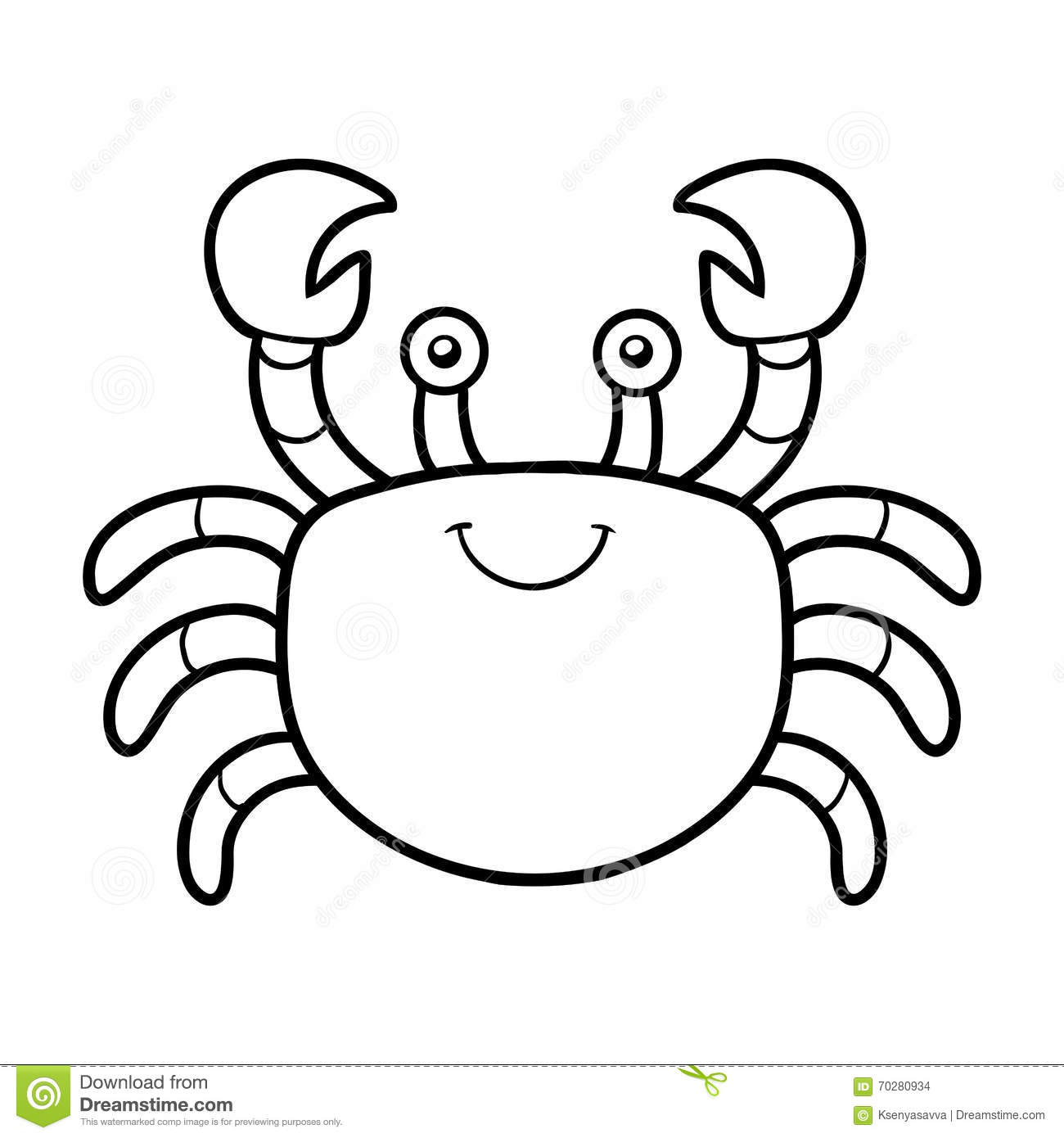 coloring book coloring page crab stock vector image 70280934
