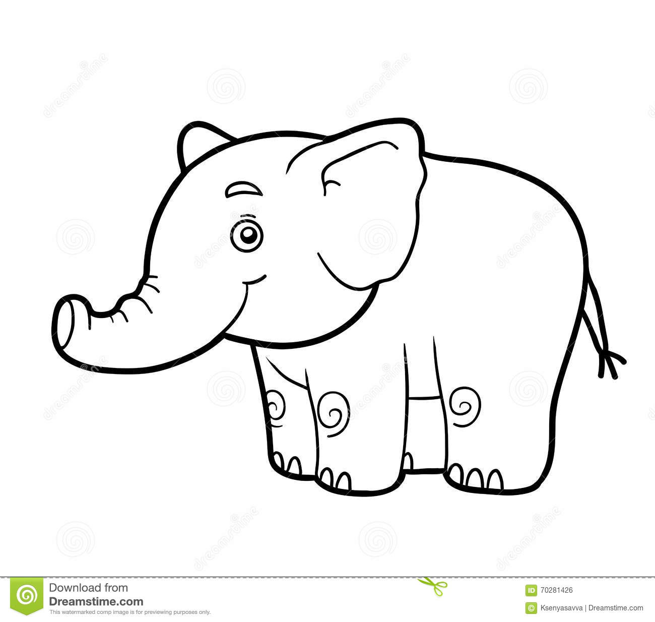Coloring book, coloring page (elephant)