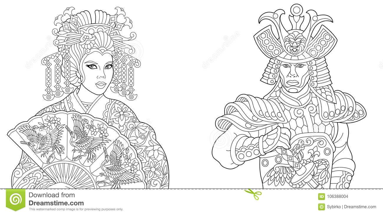 Japanese Geisha And Samurai With Katana Stock Vector