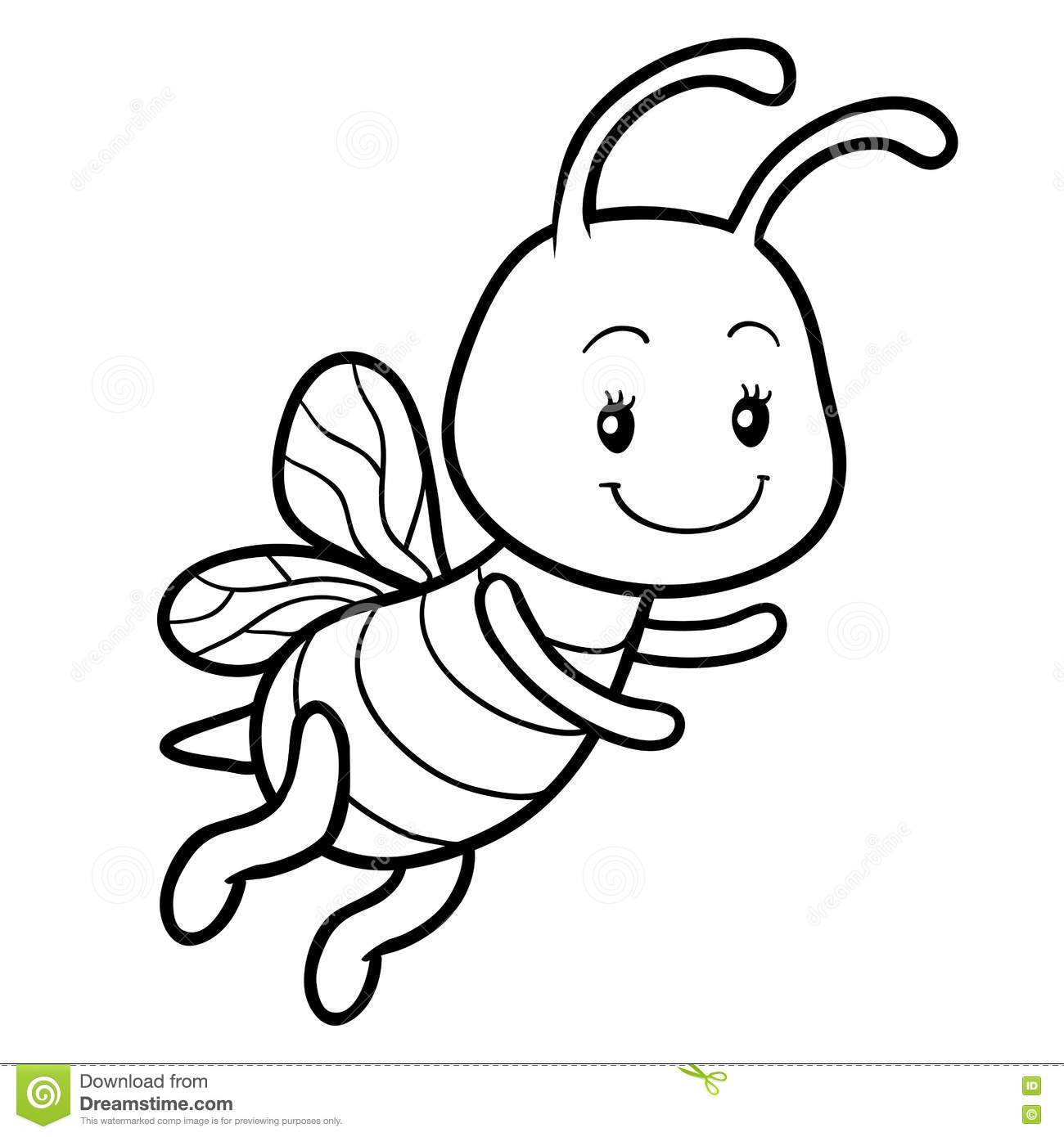 - Coloring Book, Coloring Page With A Small Bee Stock Vector