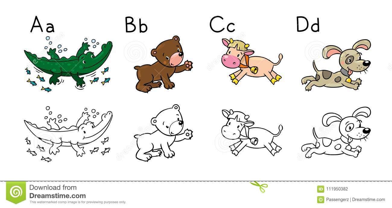 Animals Alphabet Or ABC. Coloring Book Stock Vector - Illustration ...