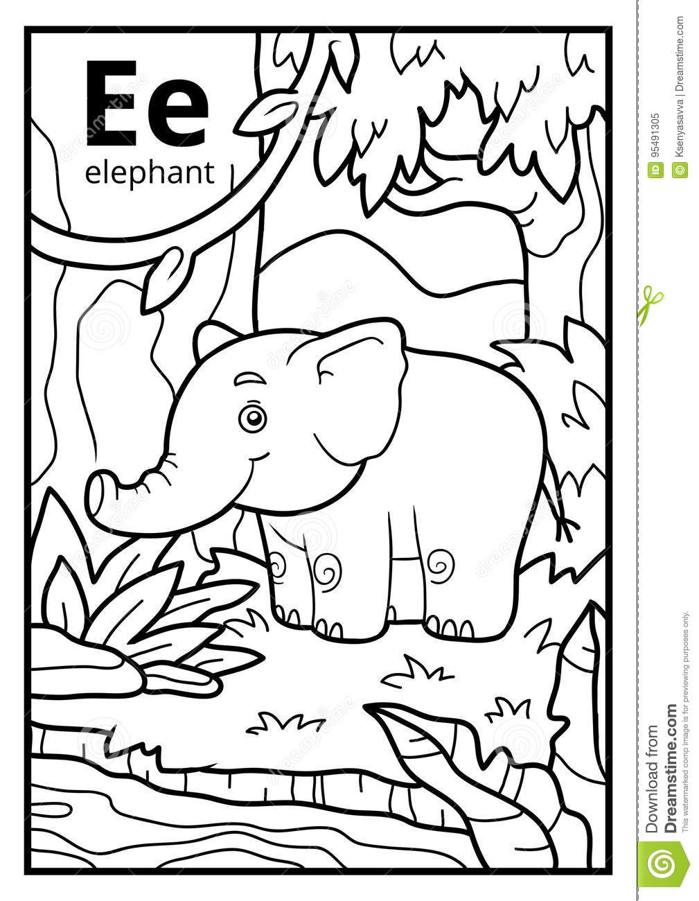 Coloring Book, Colorless Alphabet. Letter E, Elephant Stock Vector ...