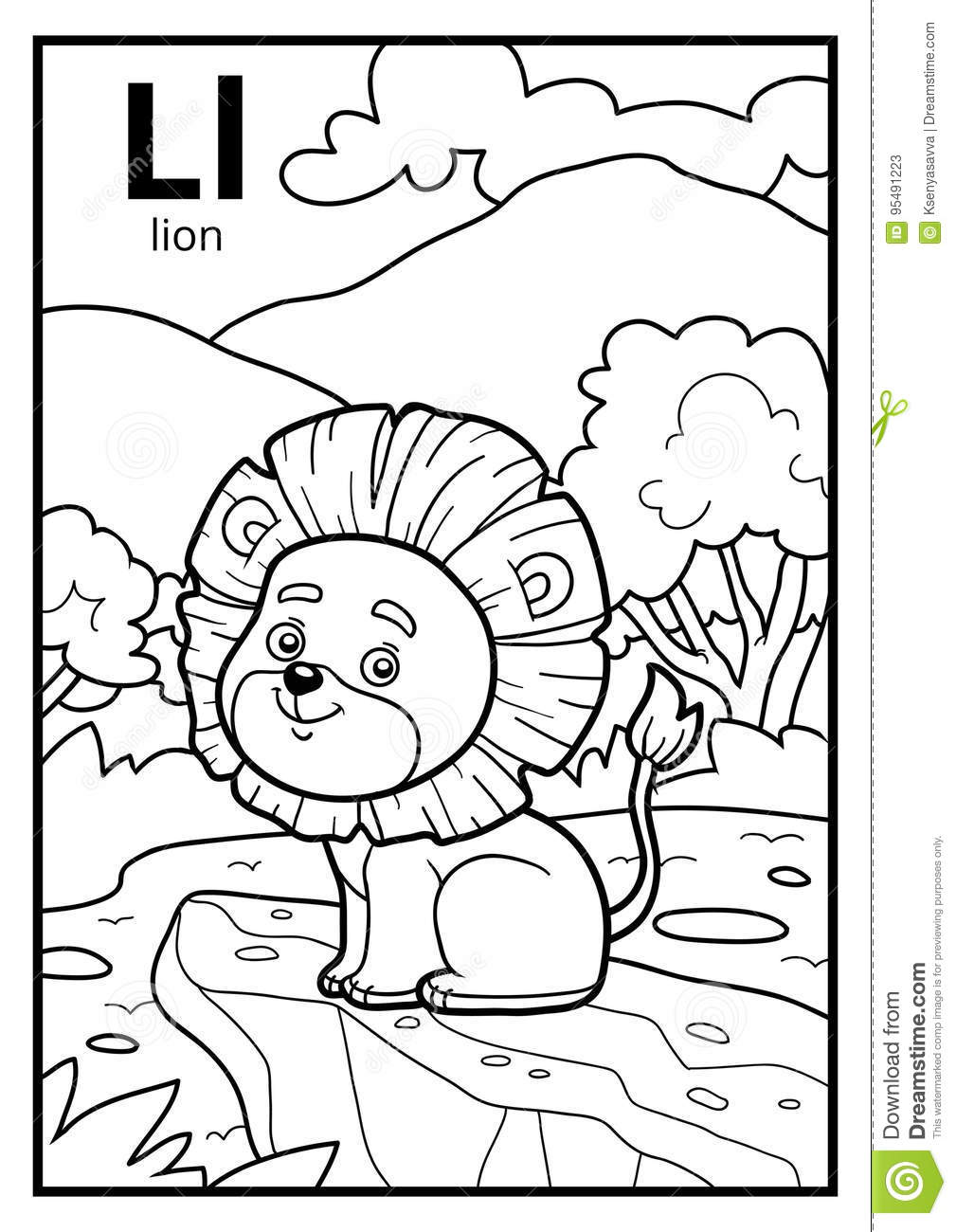 Coloring Book, Colorless Alphabet. Letter L, Lion Stock Vector ...