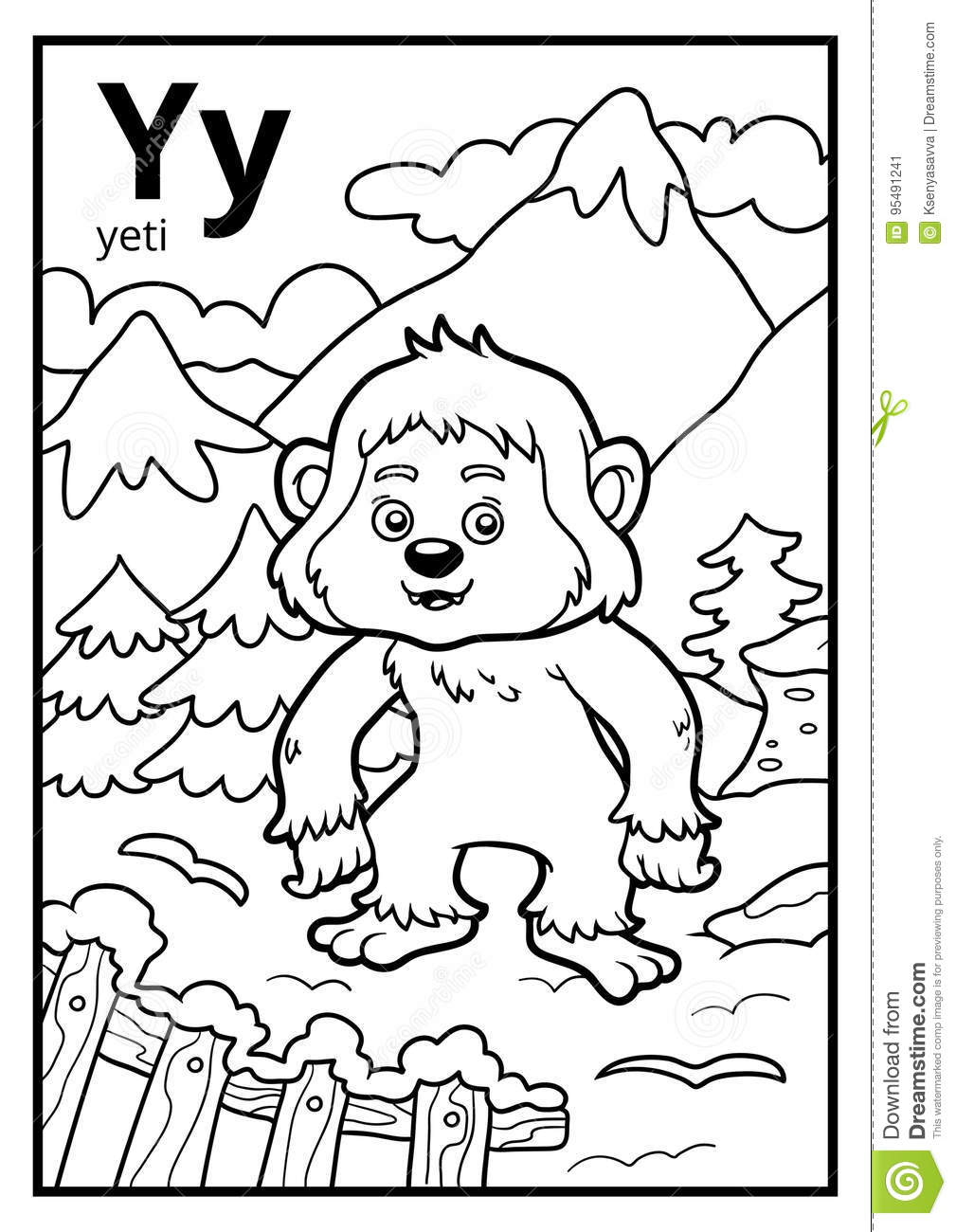 Coloring Book Colorless Alphabet Letter Y Yeti