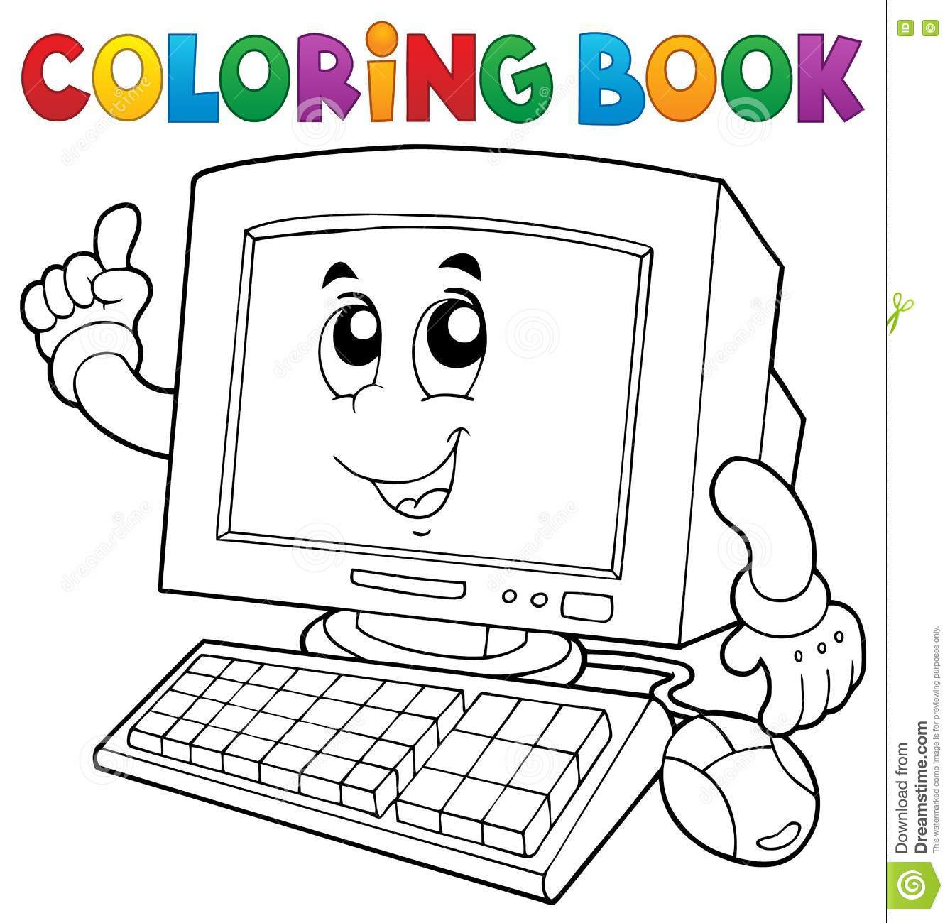 Royalty Free Vector Download Coloring Book Computer