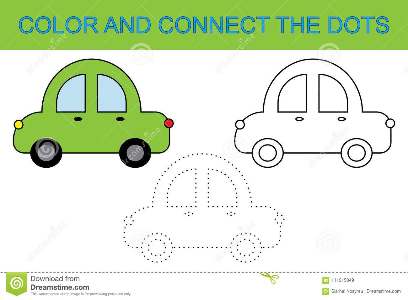 Coloring Book. Connect The Dots To Create Car. Activity