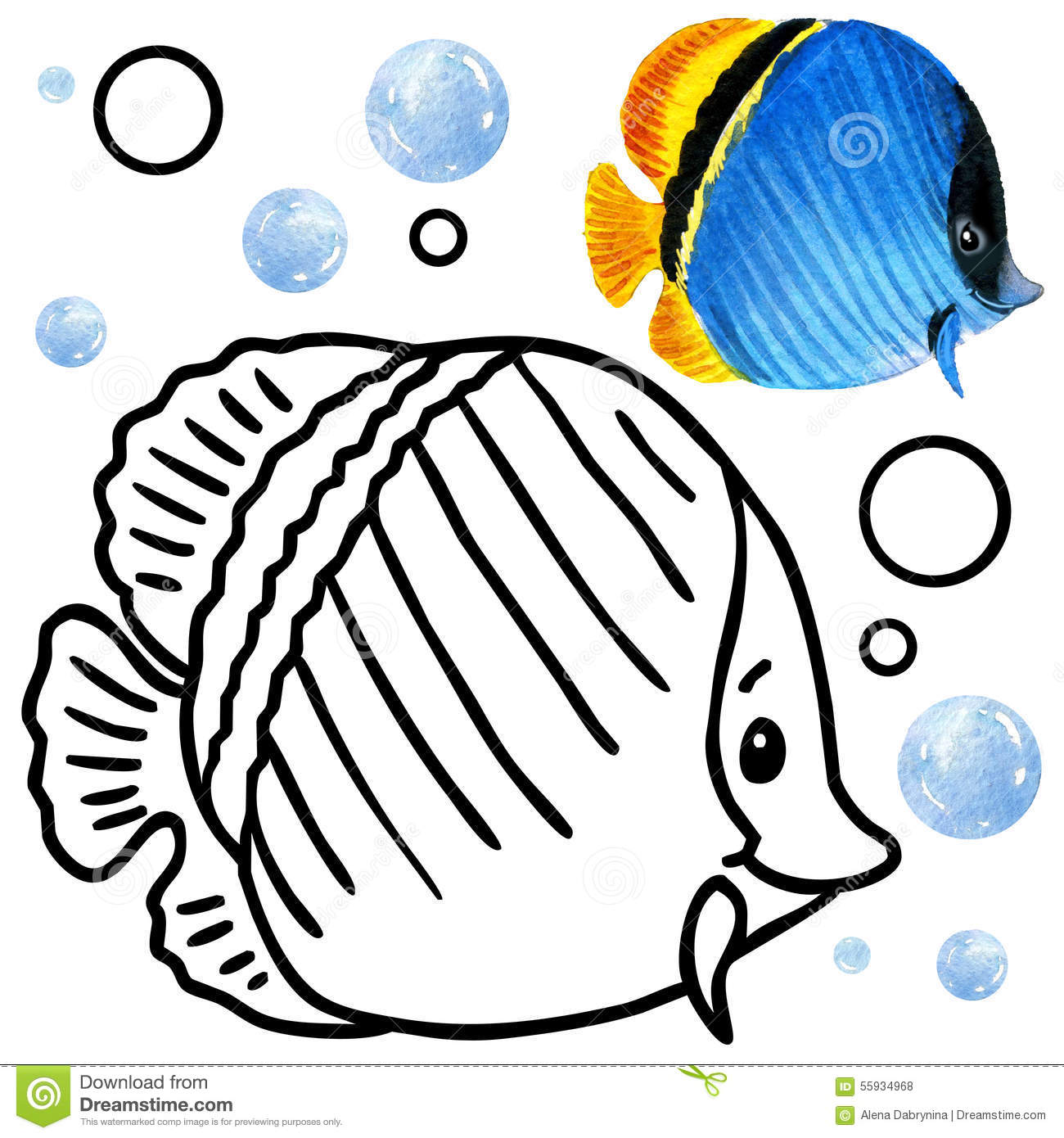 Coloring Book Coral Reef Fauna Cartoon Fish Illustration For Kid Entertainment Stock