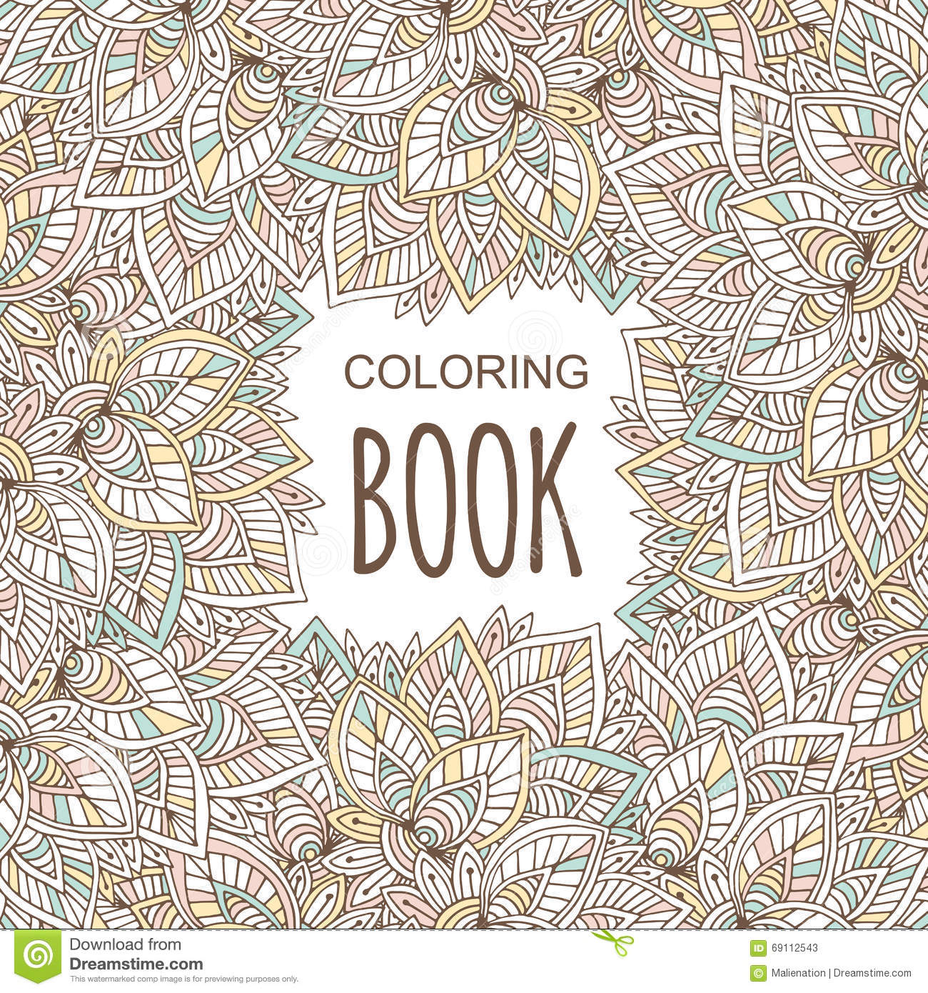 Coloring Book Cover In Unique Zentangle Style. Vector Hand Drawn ...