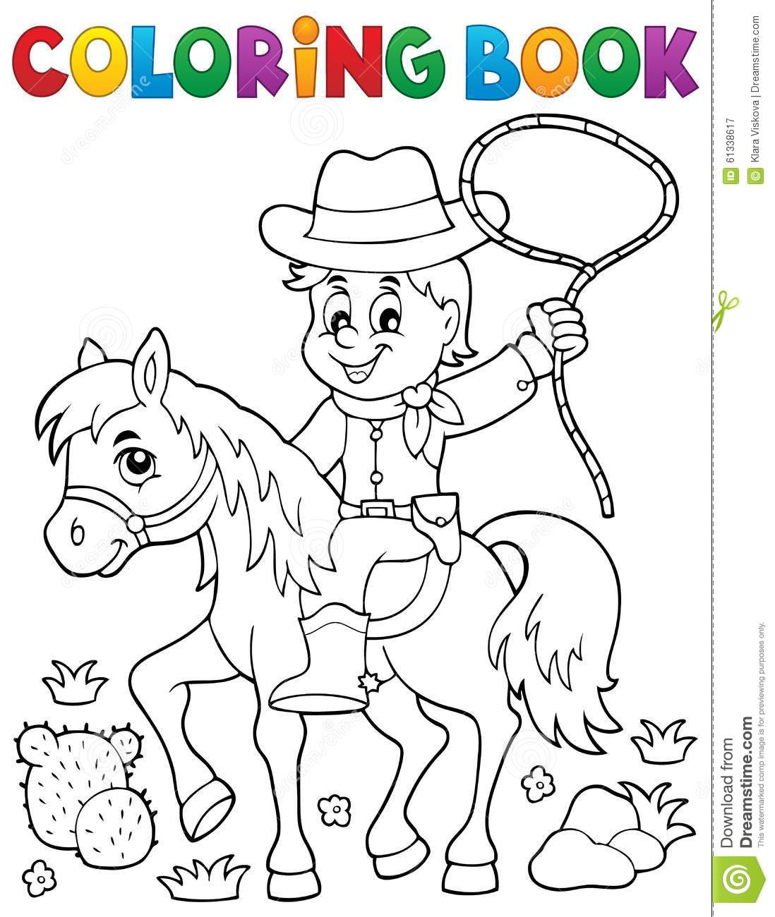 Coloring book cowboy on horse theme 1