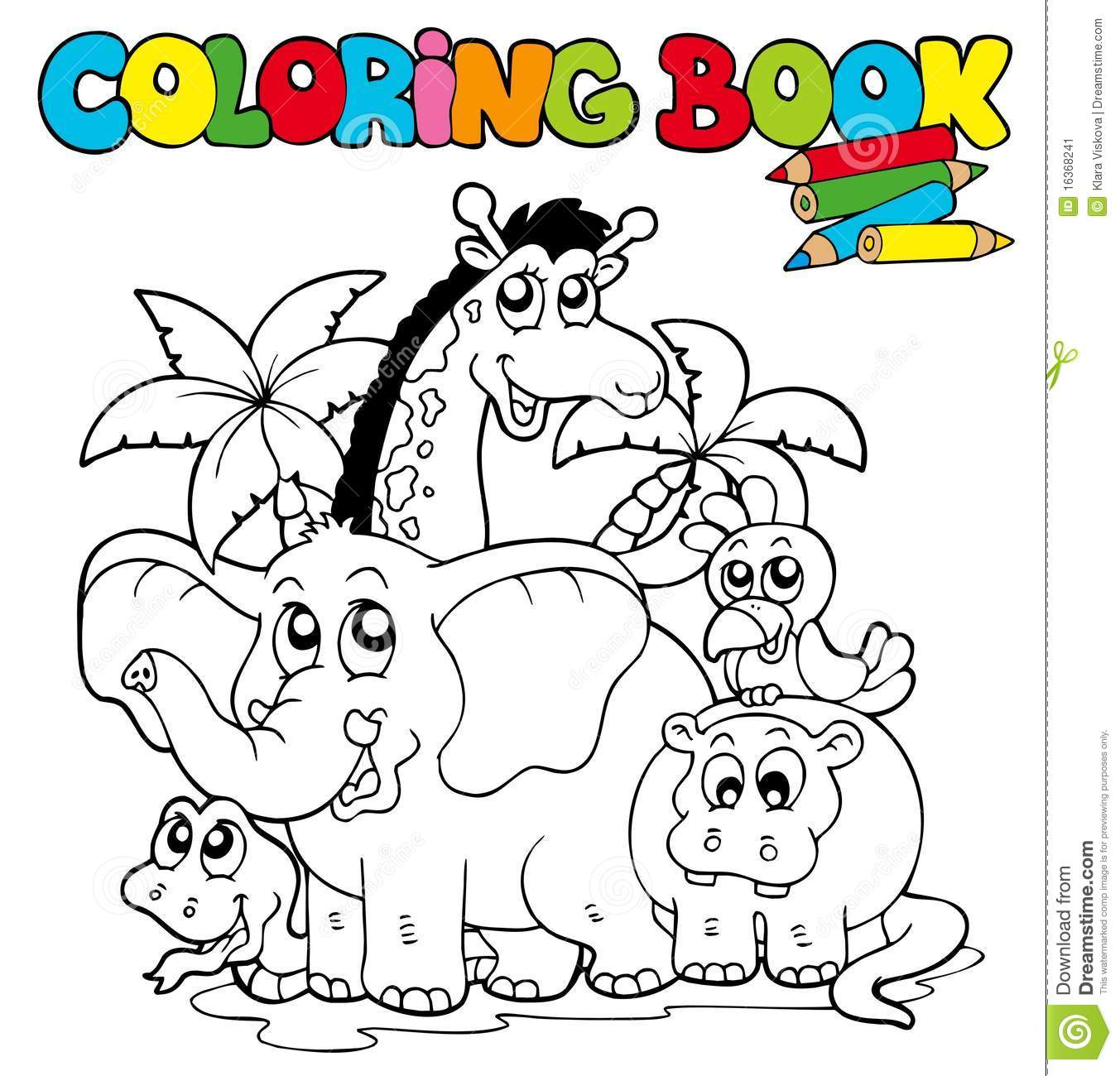 Coloring book with cute animals 1 stock vector Adorable animals coloring book