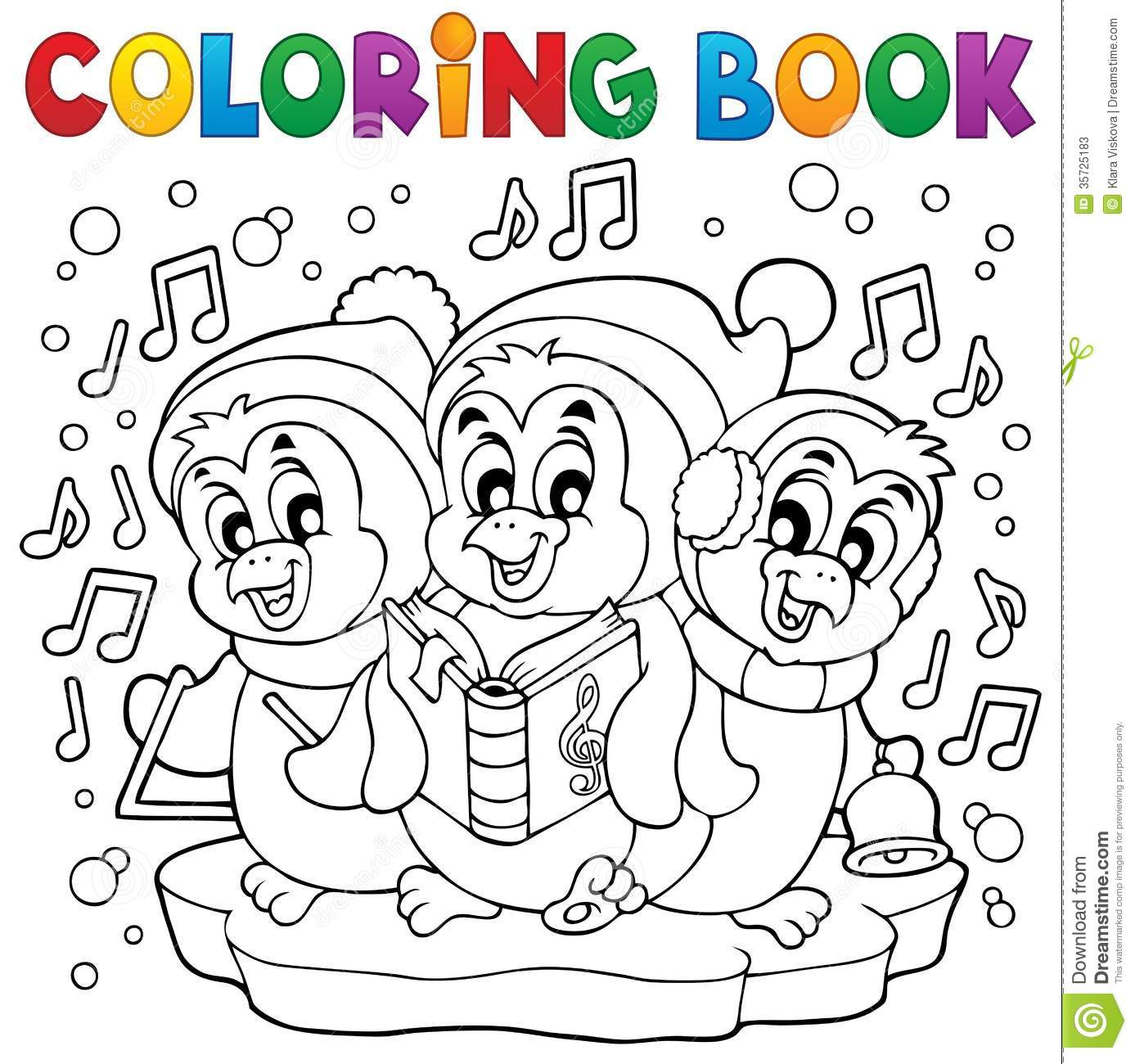 coloring book cute penguins 4 stock photos image 35725183