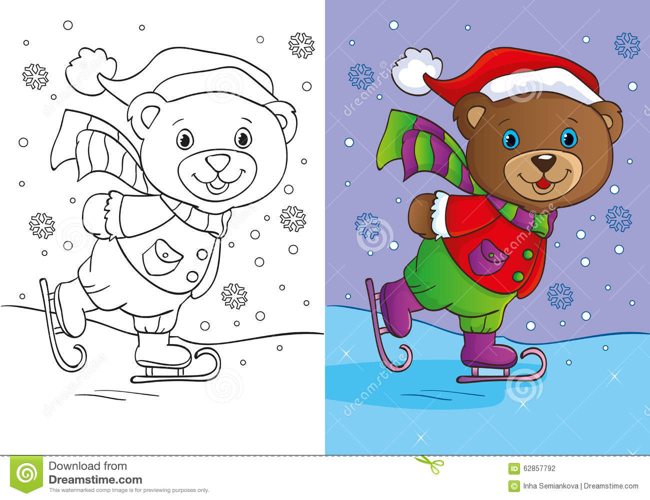 Download Coloring Book Of Cute Teddy Bear Skates Stock Illustration