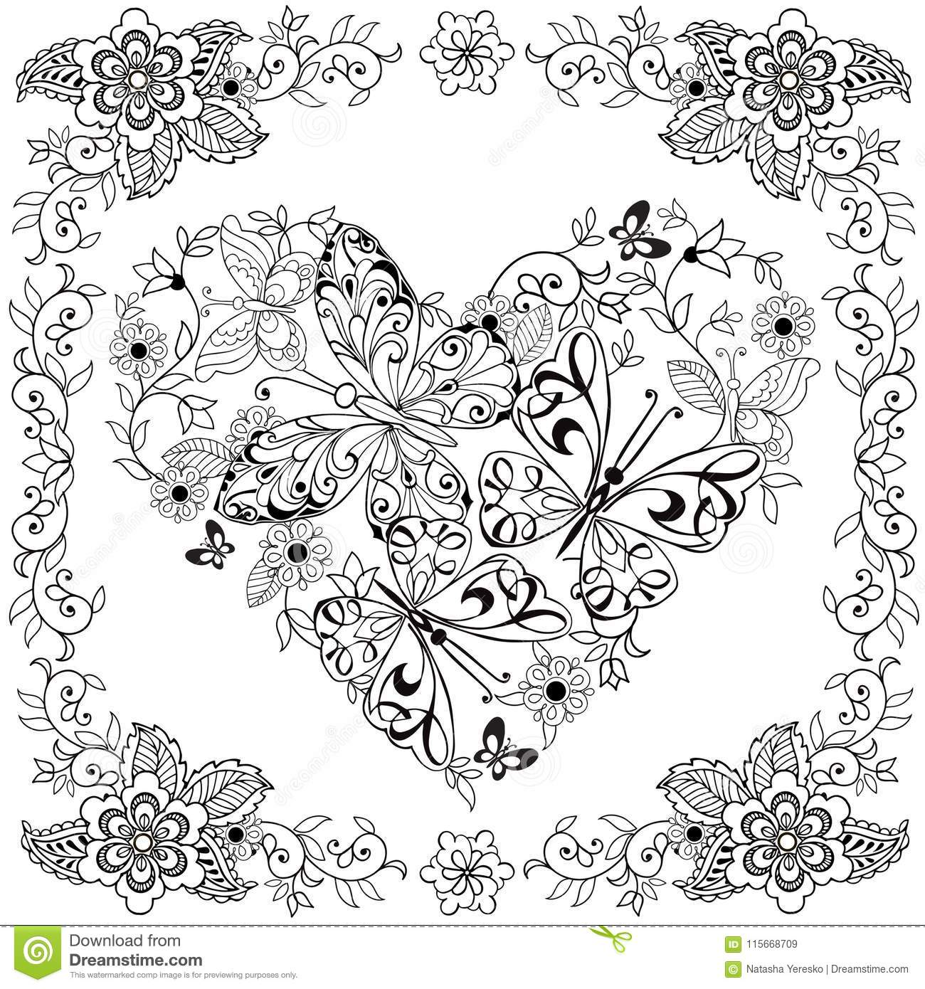 Coloring Book Decorative Heart Of Flowers And Butterflies ...