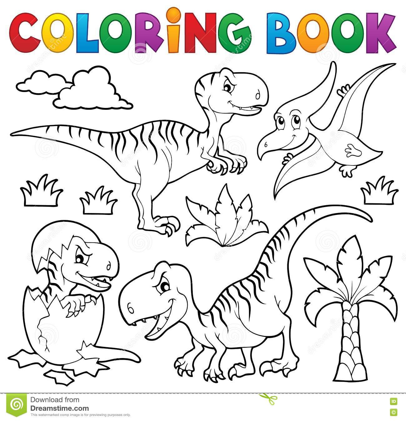 Royalty Free Vector Download Coloring Book Dinosaur