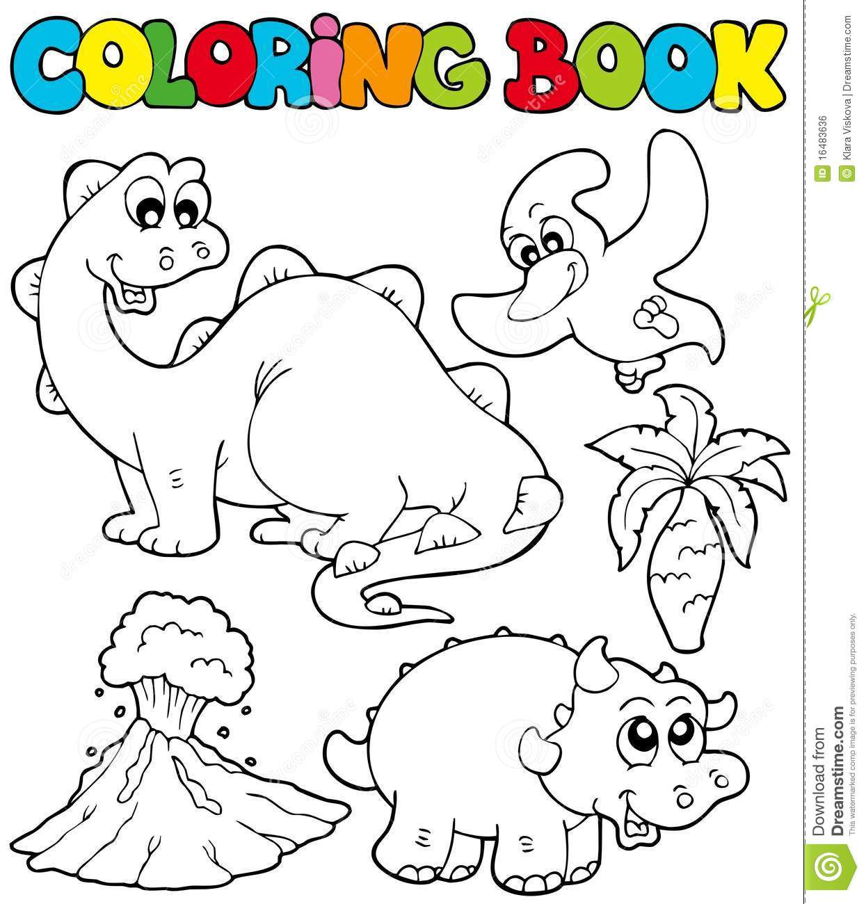 Coloring Book With Dinosaurs 2 Royalty Free Stock Image