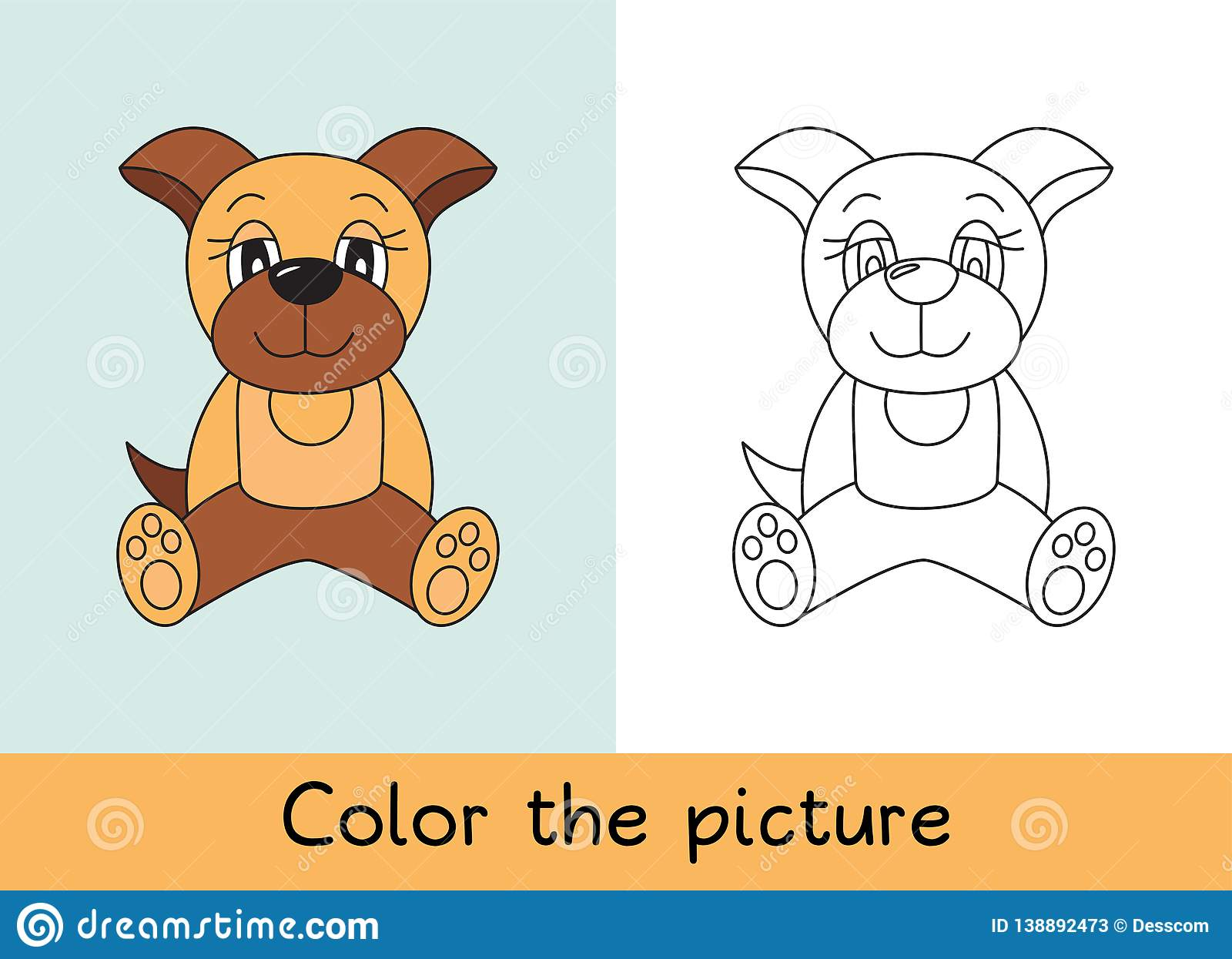 Coloring book. Dog pet. Cartoon animall. Kids game. Color picture. Learning by playing. Task for children