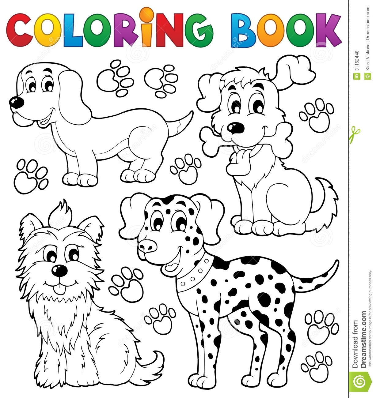Coloring Book Dog Theme 5 Stock Vector Illustration Of