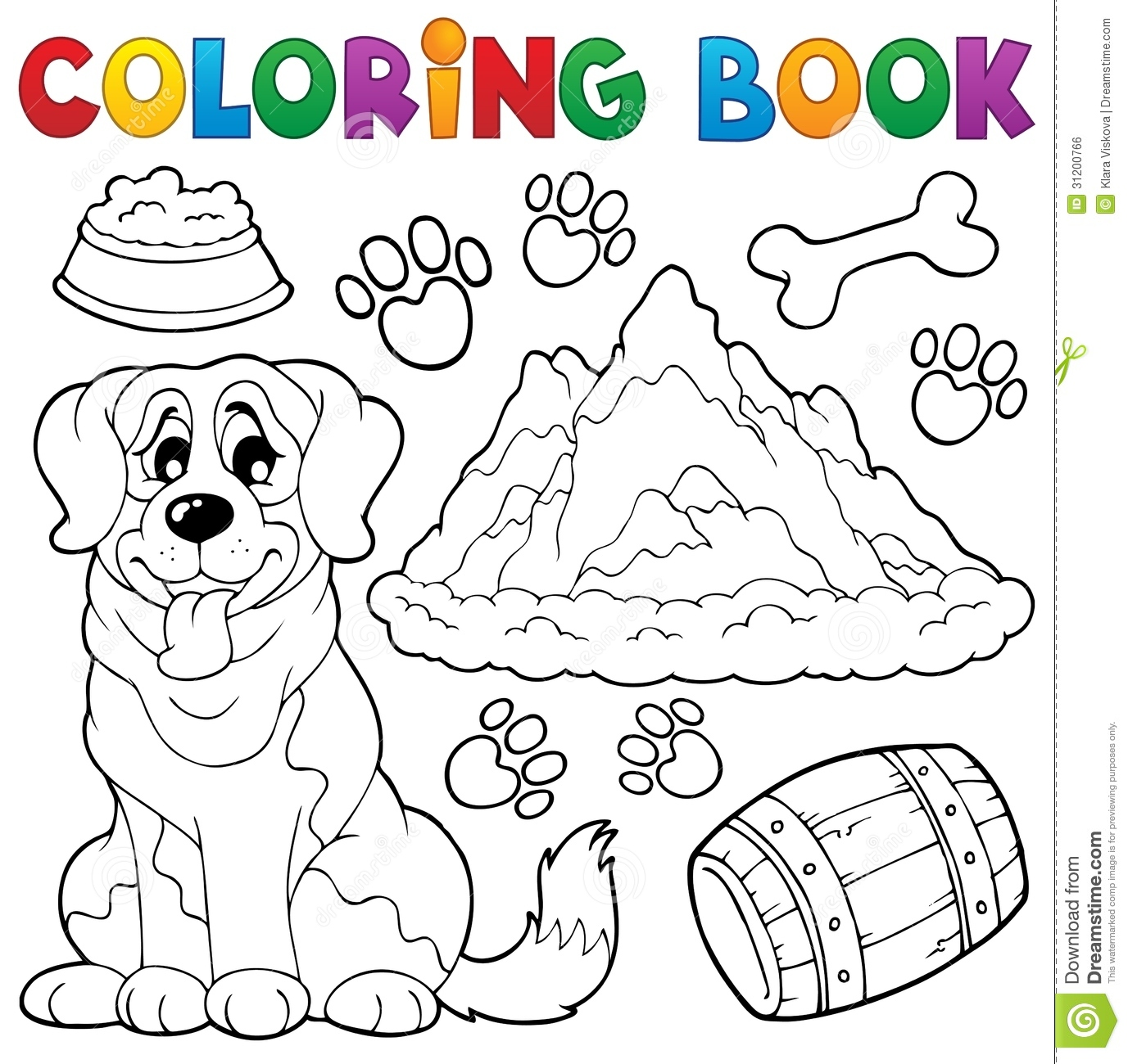 coloring book dog theme 7 royalty free stock image image 31200766