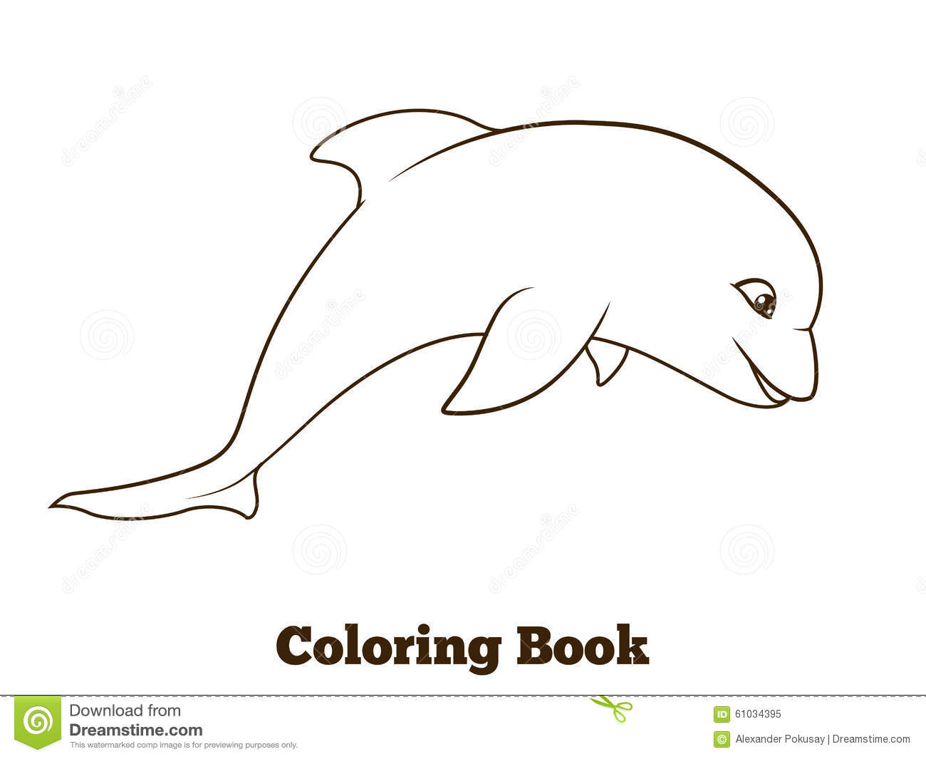 coloring book dolphin cartoon educational stock vector image