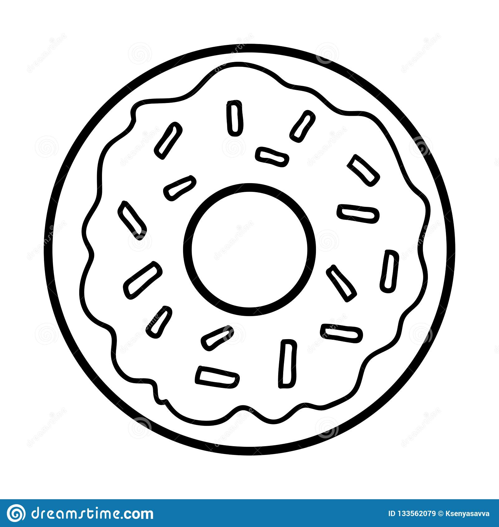 - Coloring Book, Donut Stock Vector. Illustration Of Breakfast - 133562079