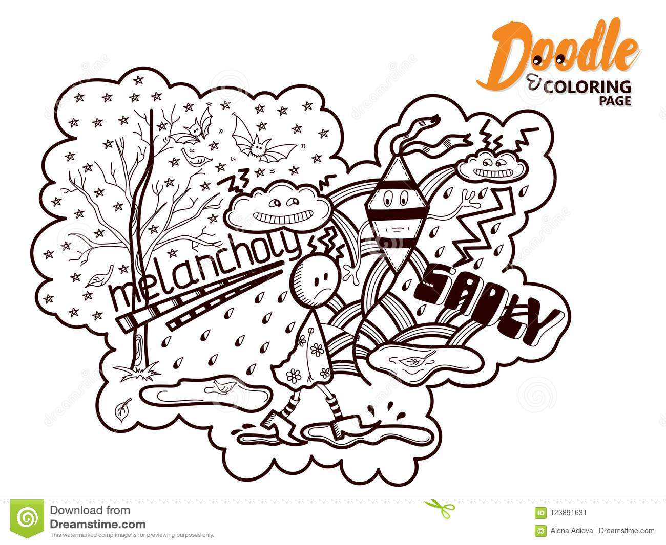 Coloring Book Doodle Melancholy Stock Vector Illustration