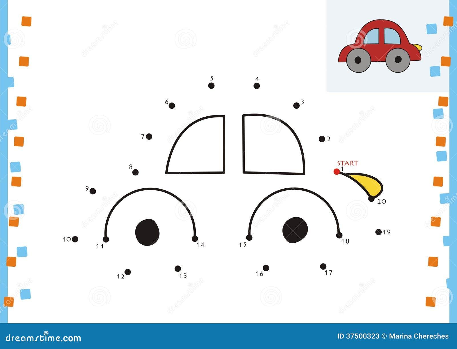 Coloring Book Dot To Dot. The Car Stock Vector