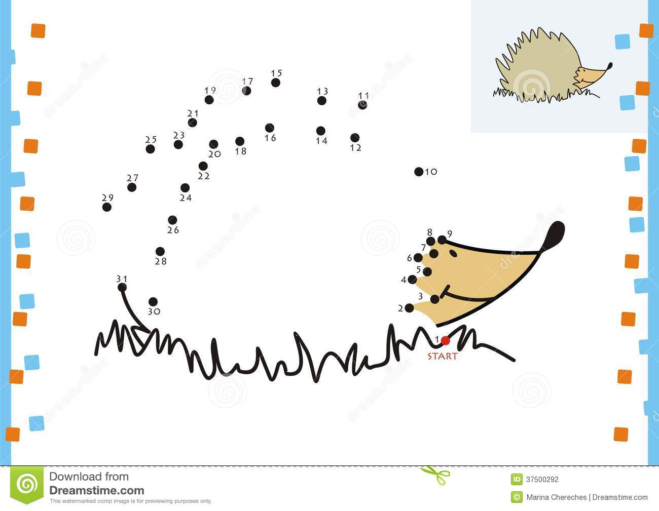 Coloring Book Dot To Dot. The Hedgehog Stock Photography - Image ...