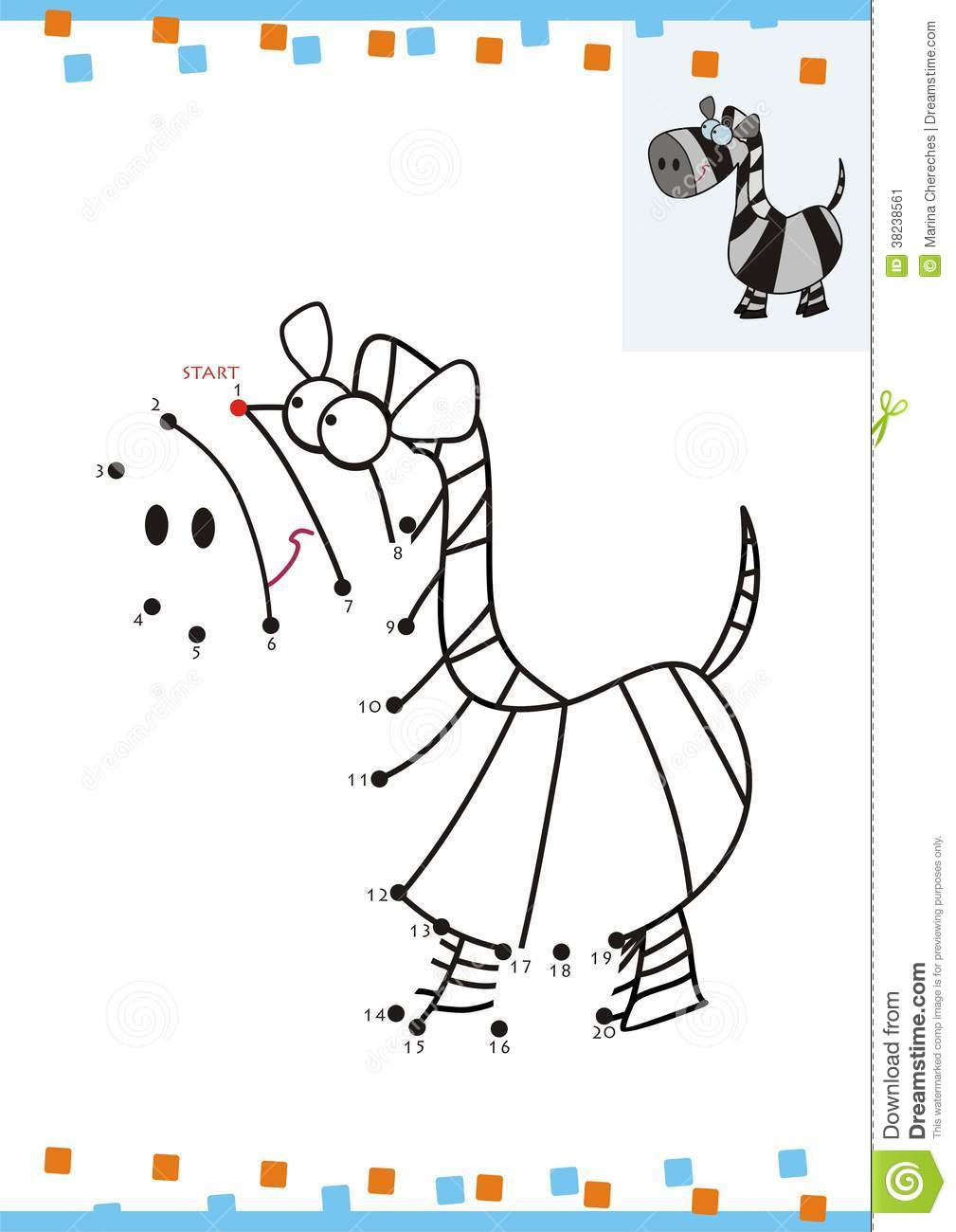 Coloring Book Dot To Dot. The Zebra Stock Image - Image: 38238561