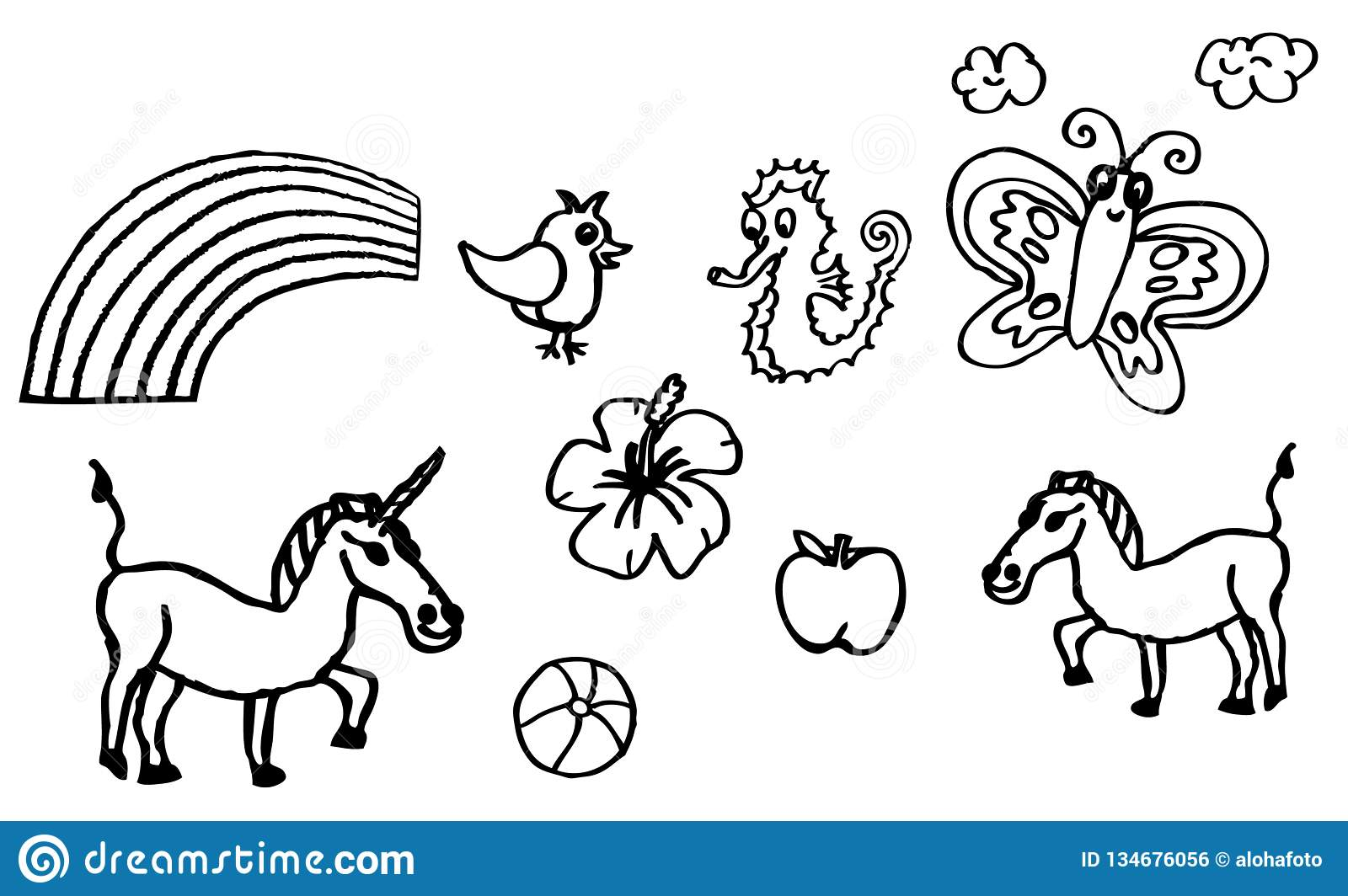 Coloring Book - Drawings About Hobbies With An Unicorn And ...