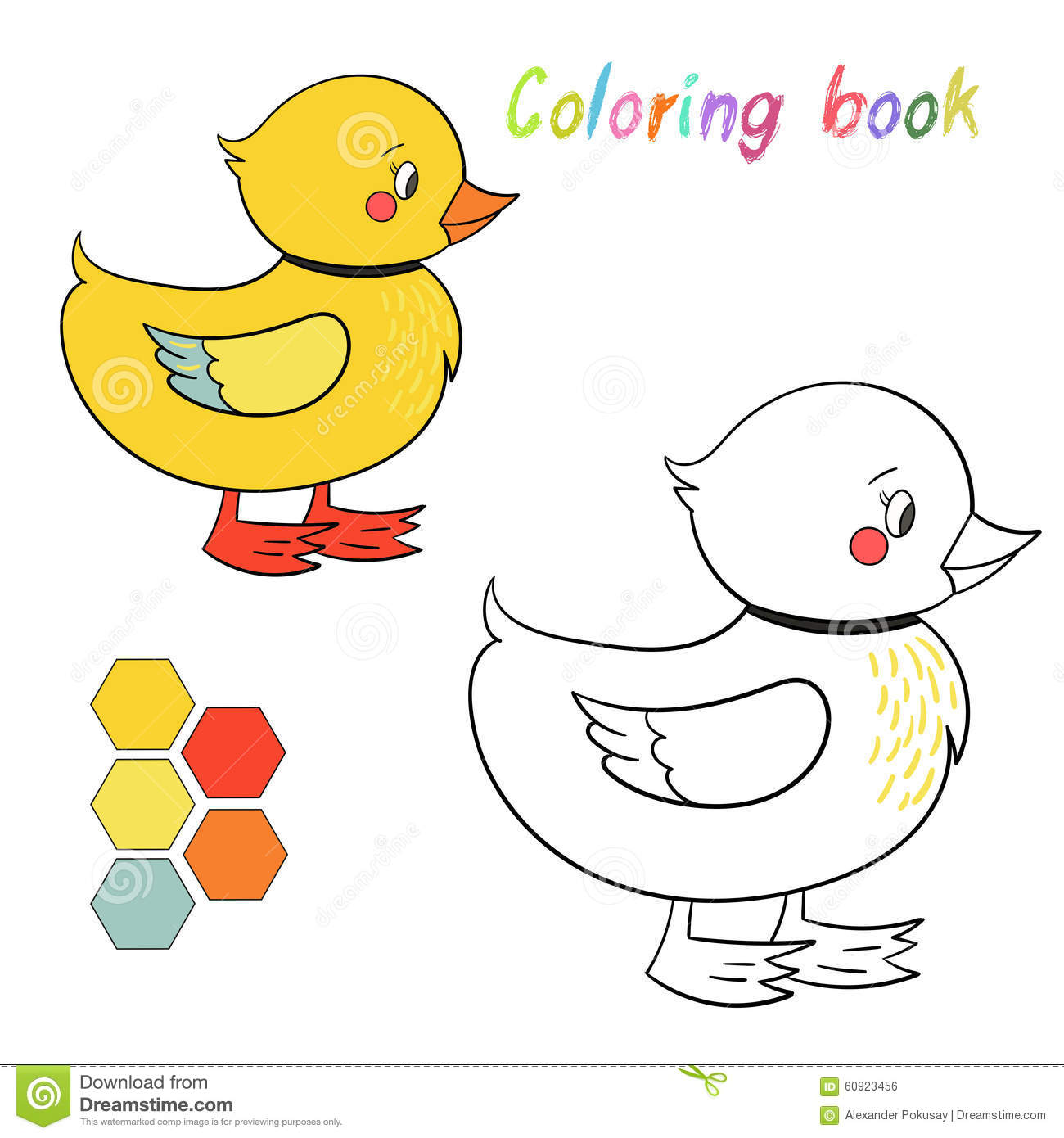 Coloring Book Duck Kids Layout For Game