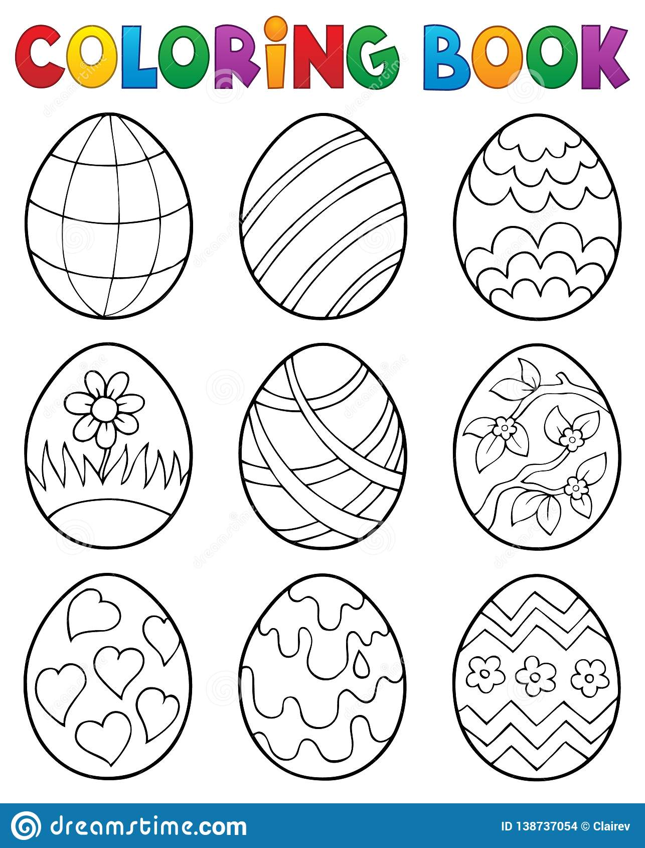 Coloring Book Easter Eggs Theme 4 Stock Vector - Illustration of ...