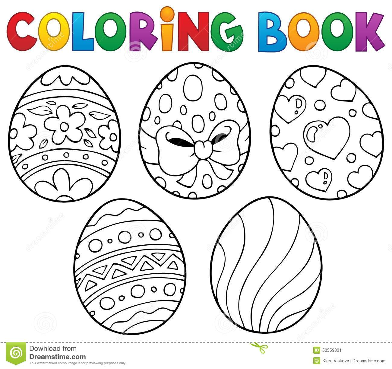 Download Coloring Book Easter Eggs Theme 1 Stock Vector