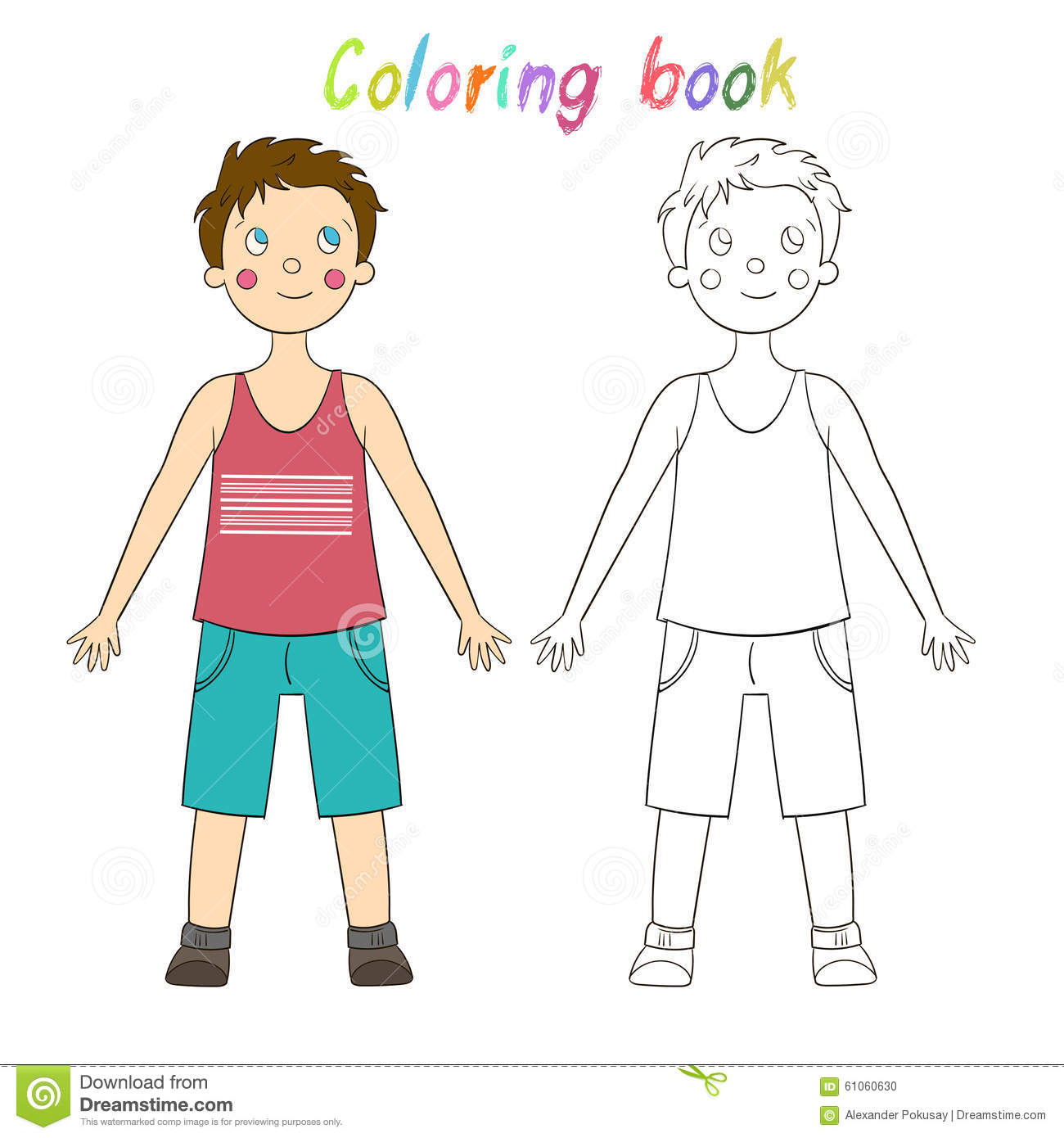 Coloring Book Educational Game Draw The Human Boy Stock