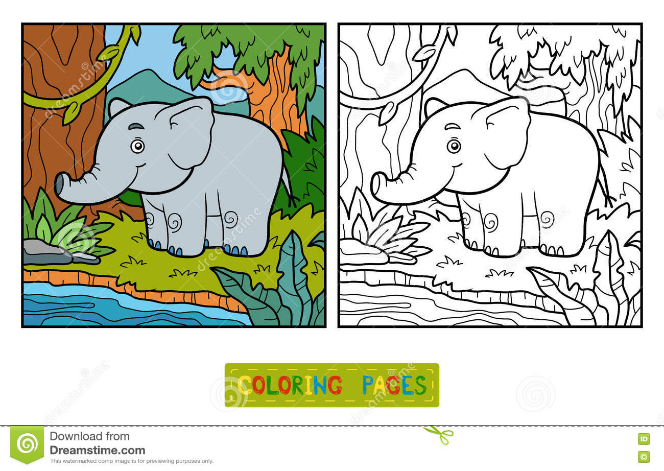Royalty Free Vector Download Coloring Book Elephant