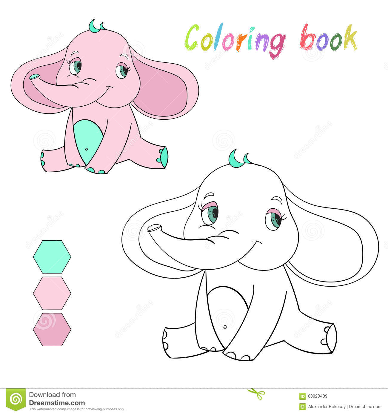 coloring book elephant kids layout for game stock vector image