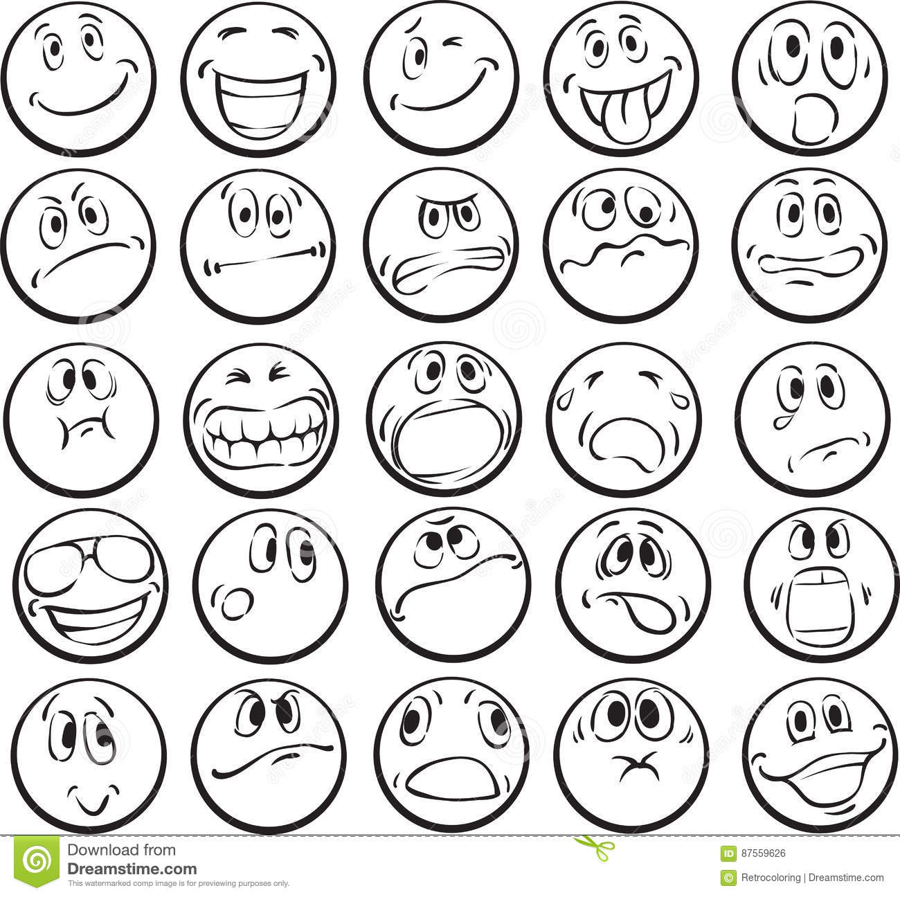 Coloring Book Of Emotional Faces Stock Vector