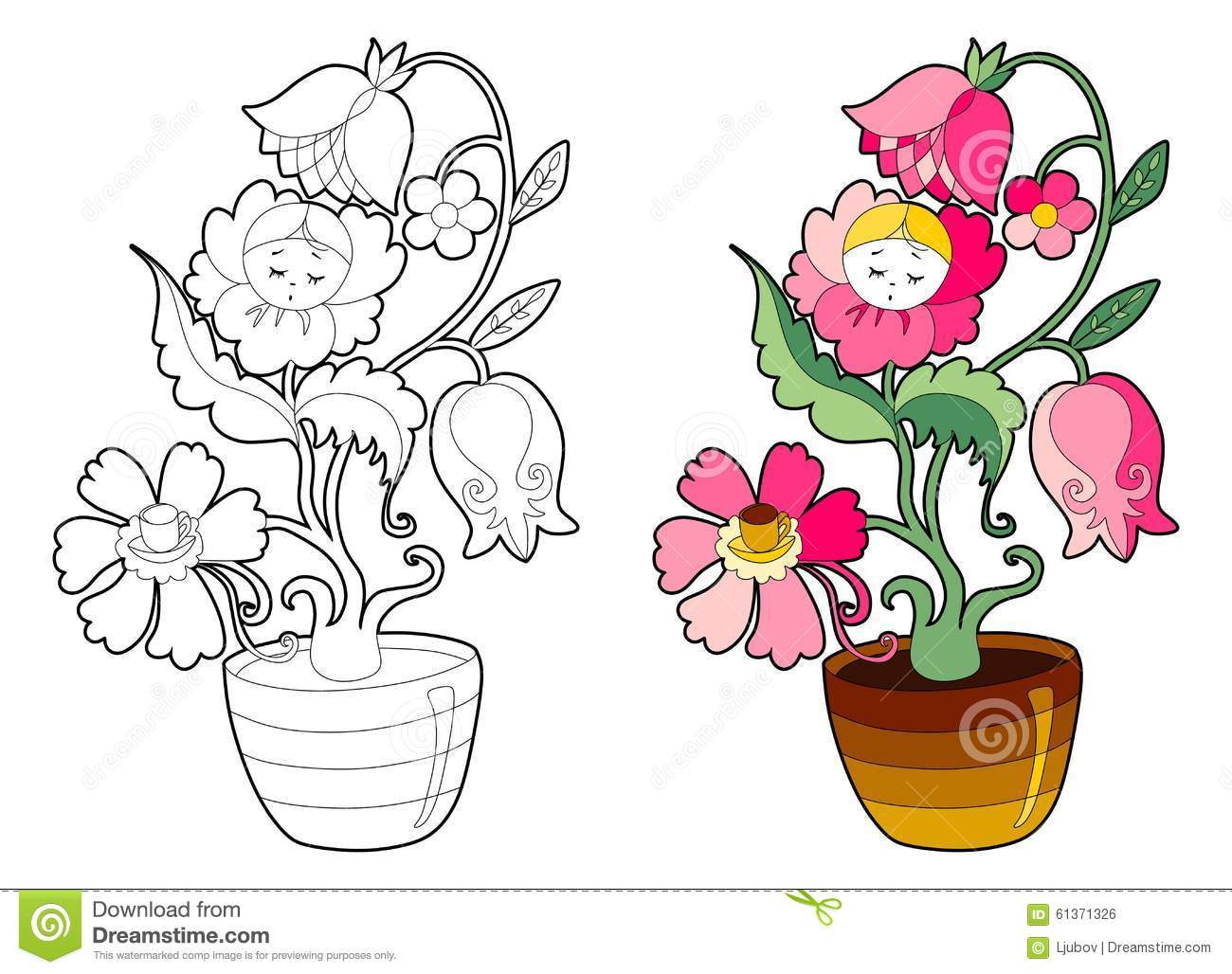 Royalty Free Vector Download Coloring Book With Fairy Flower