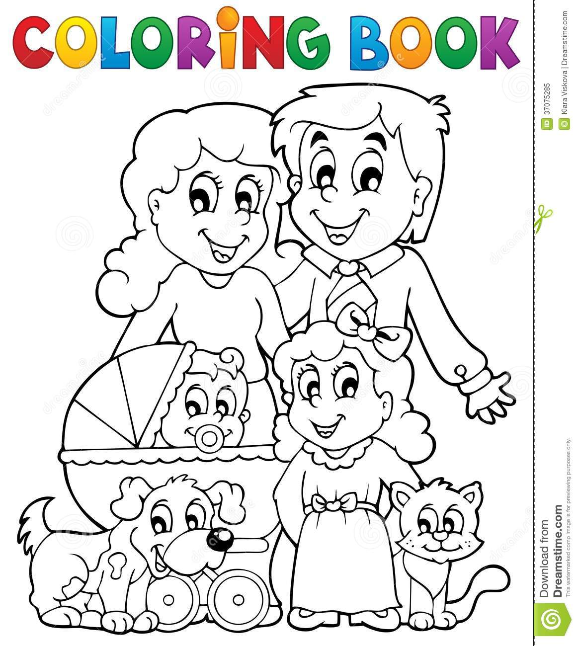 Interactive Coloring Pages - Printable Color Book Sheets Family coloring pictures for kids