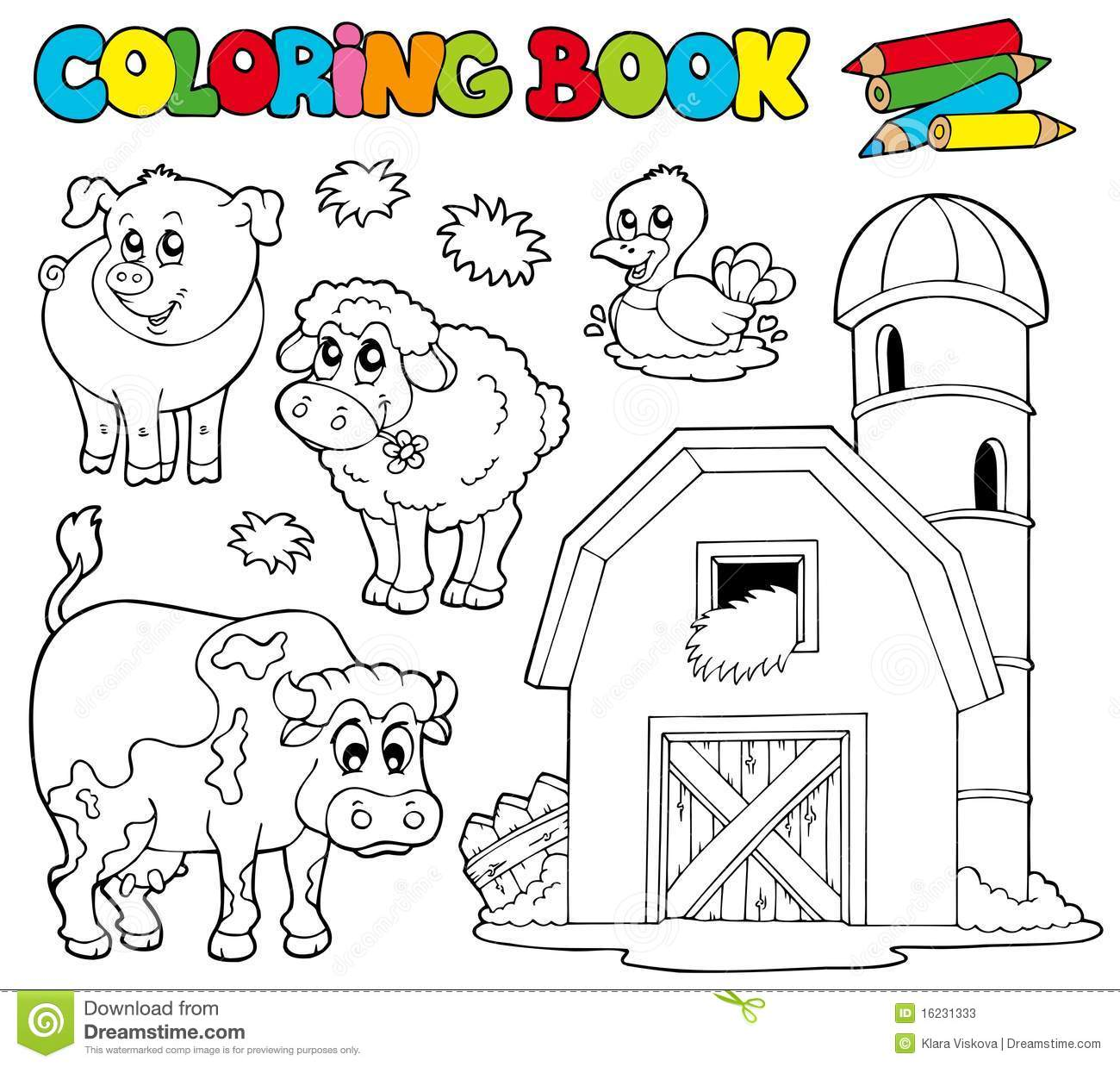 Coloring Book With Farm Animals 1 Stock Vector