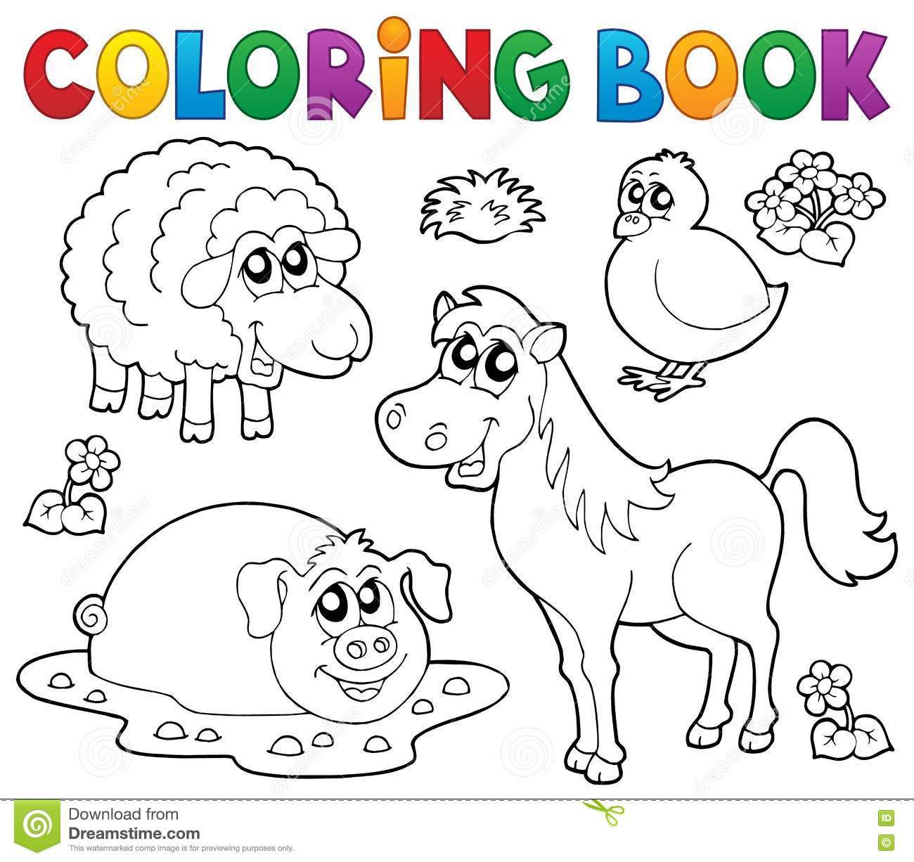 Royalty Free Vector Download Coloring Book With Farm Animals