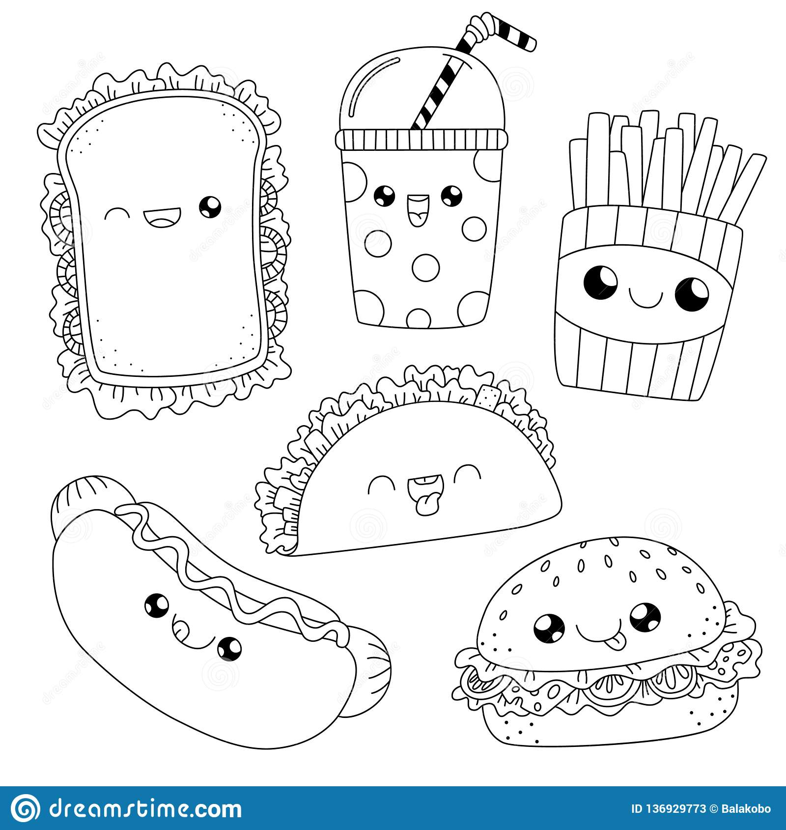 - Coloring Book.fast Food Doodle Stock Vector - Illustration Of