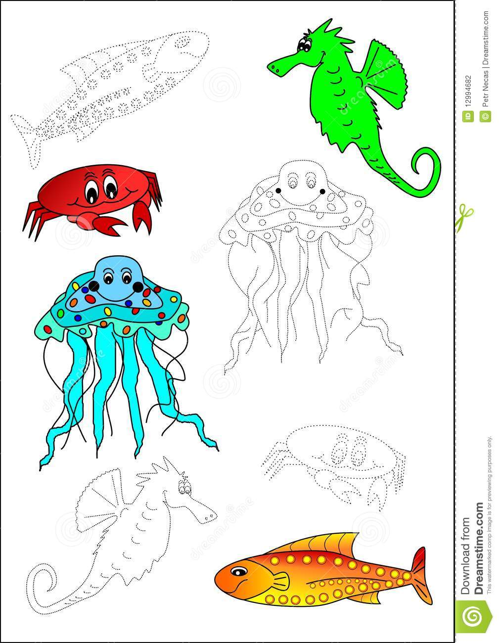 Coloring book fish stock photography image 12994682 for Colorful fish book