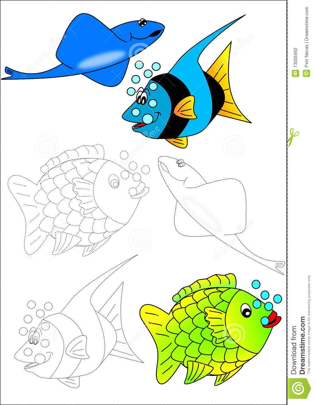 Coloring book fish stock photography image 13005992 for Colorful fish book