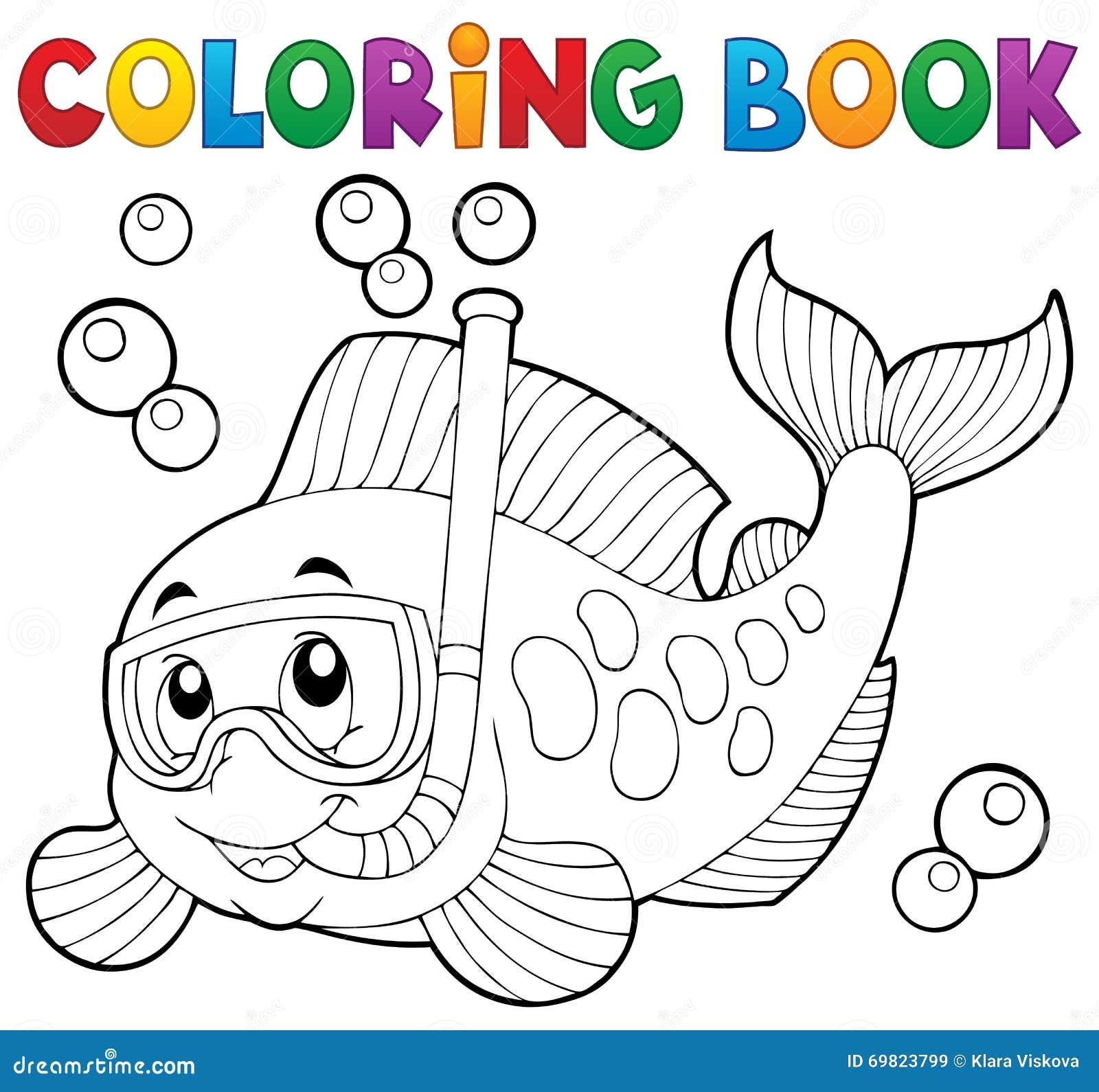 Coloring Book Fish Snorkel Diver Stock Vector - Illustration of ...