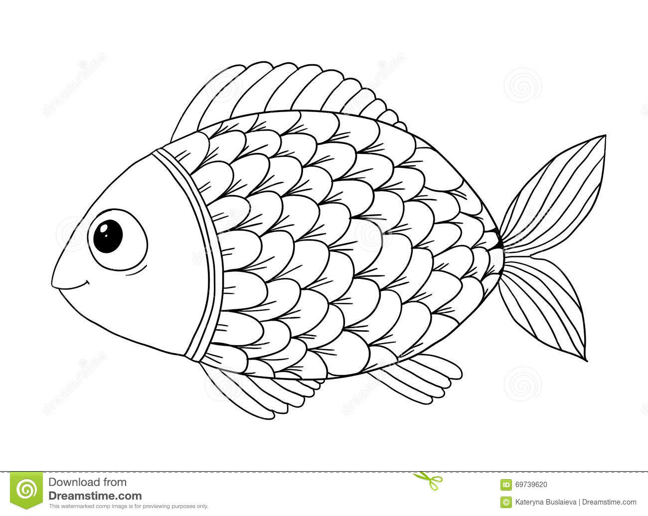 Coloring Book With Fish Stock Vector Illustration Of Friendly