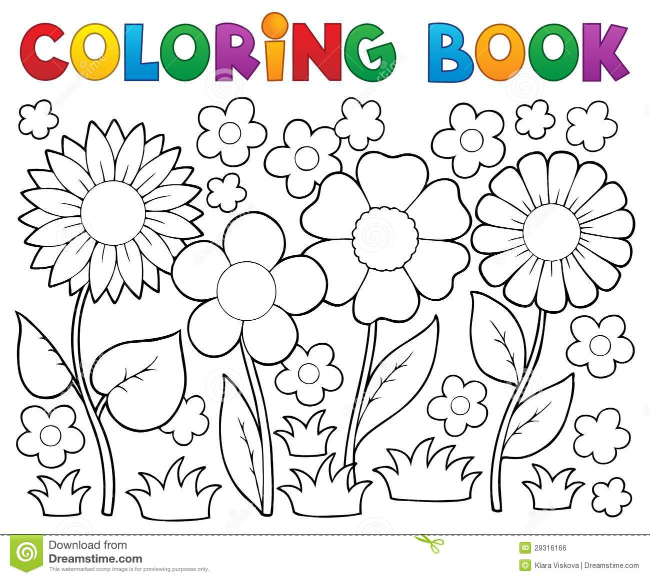 Coloring Book With Flower Theme Stock Vector Illustration Of