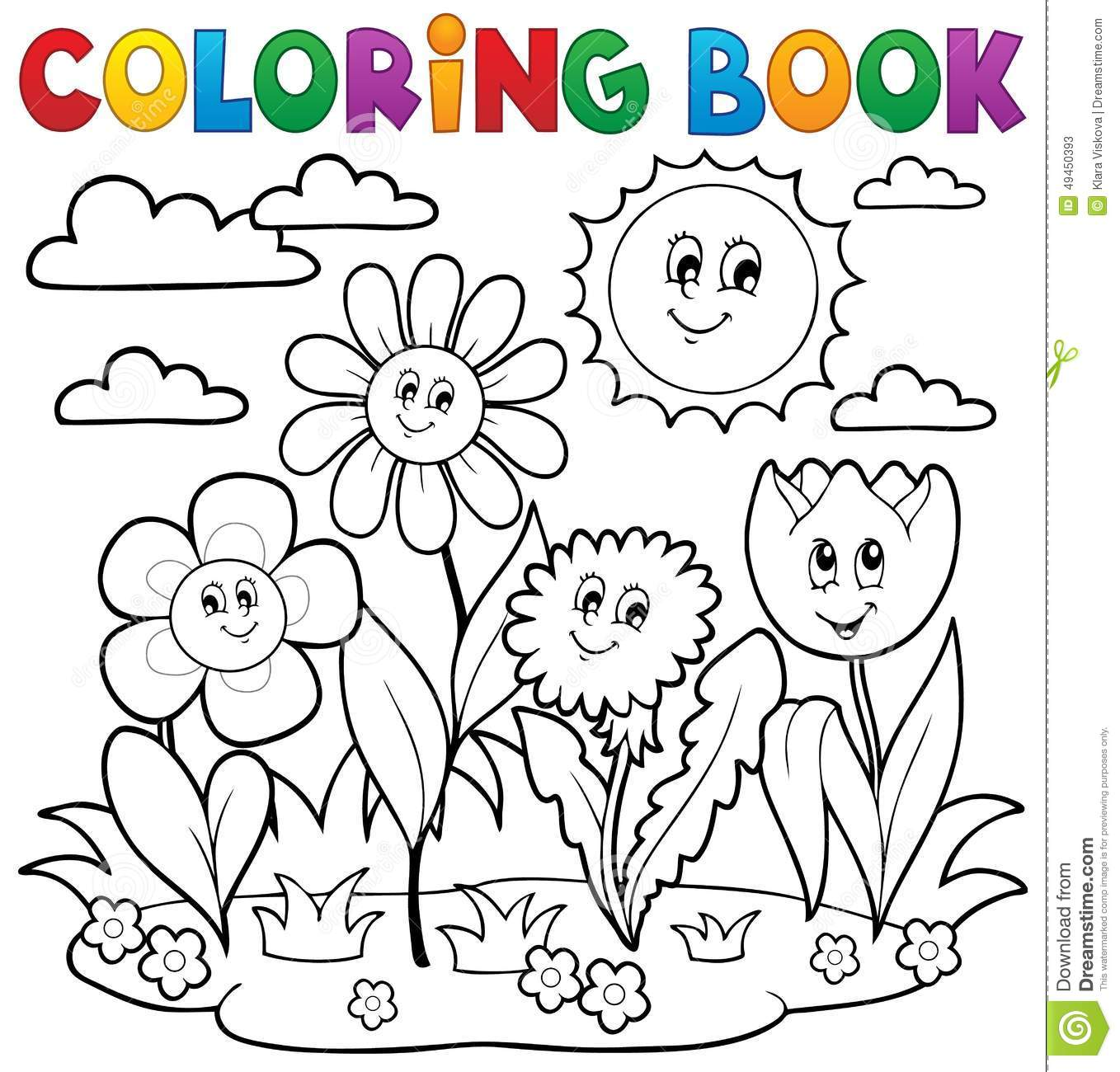 Coloring Book With Flower Theme 7 Stock Vector - Illustration of ...