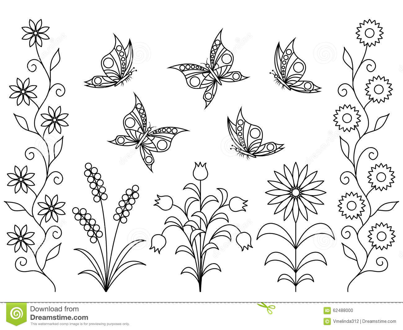 background book butterflies coloring elements flowers - Coloring Book Flowers